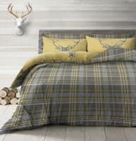 STAG DEER ANTLERS XMAS CHECK TARTAN PRINTED DUVET COVER & PILLOWCASE OCHRE GREY